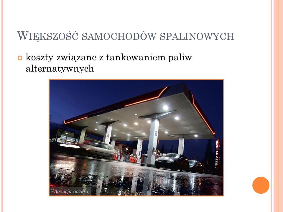 W IĘKSZOŚĆ SAMOCHODÓW SPALINOWYCH koszty związane z tankowaniem paliw alternatywnych