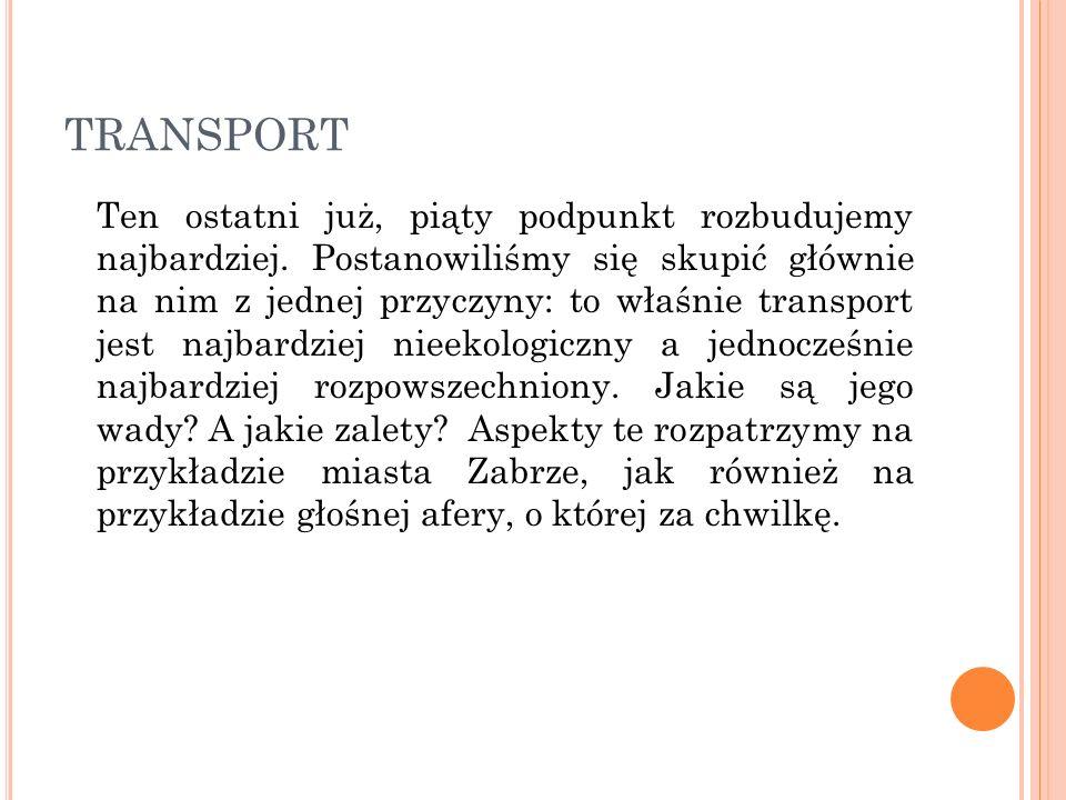 TRANSPORT Ten ostatni już, piąty podpunkt rozbudujemy najbardziej. Postanowiliśmy się skupić głównie na nim z jednej przyczyny: to właśnie transport j