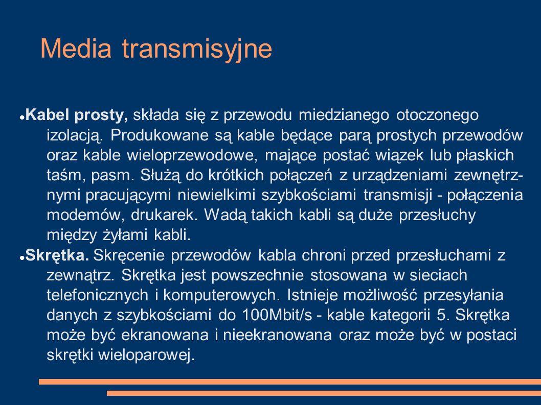 Media transmisyjne Kabel prosty, składa się z przewodu miedzianego otoczonego izolacją. Produkowane są kable będące parą prostych przewodów oraz kable