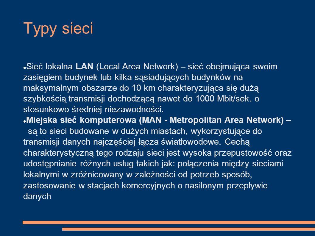Typy sieci Sieć lokalna LAN (Local Area Network) – sieć obejmująca swoim zasięgiem budynek lub kilka sąsiadujących budynków na maksymalnym obszarze do