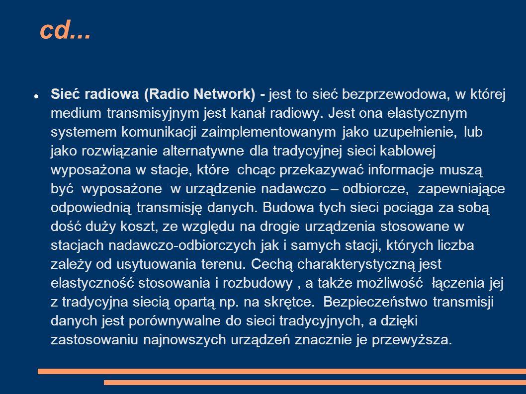 cd... Sieć radiowa (Radio Network) - jest to sieć bezprzewodowa, w której medium transmisyjnym jest kanał radiowy. Jest ona elastycznym systemem komun