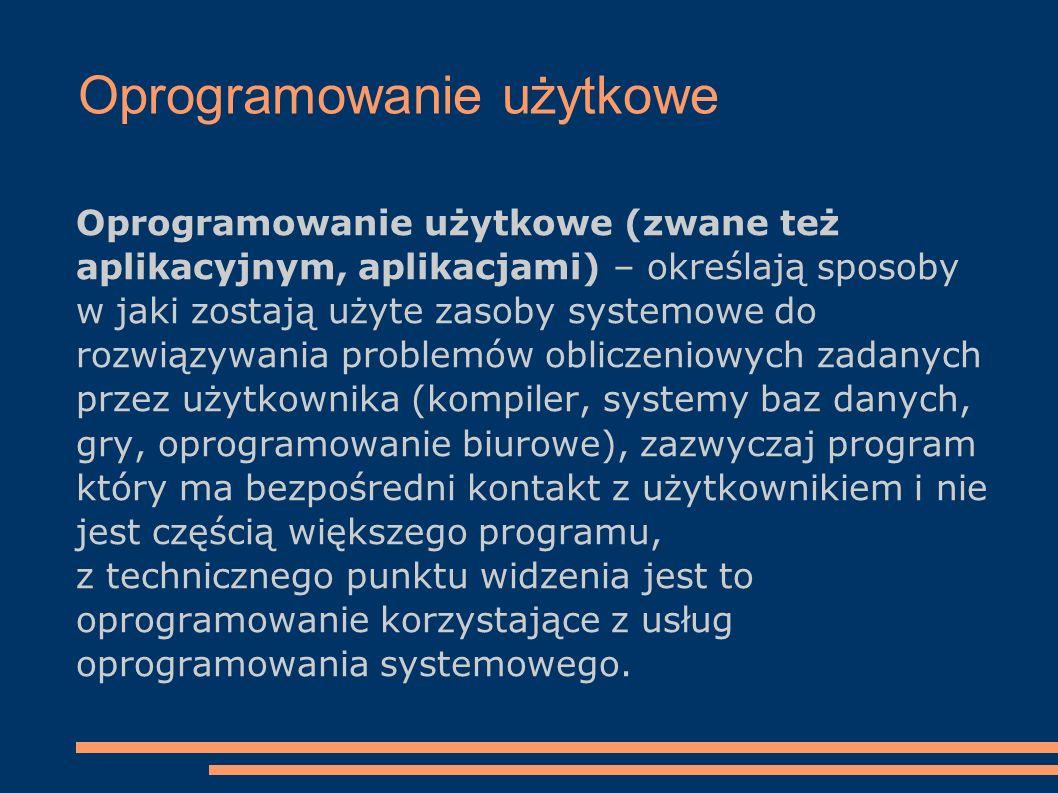 Oprogramowanie użytkowe Oprogramowanie użytkowe (zwane też aplikacyjnym, aplikacjami) – określają sposoby w jaki zostają użyte zasoby systemowe do roz