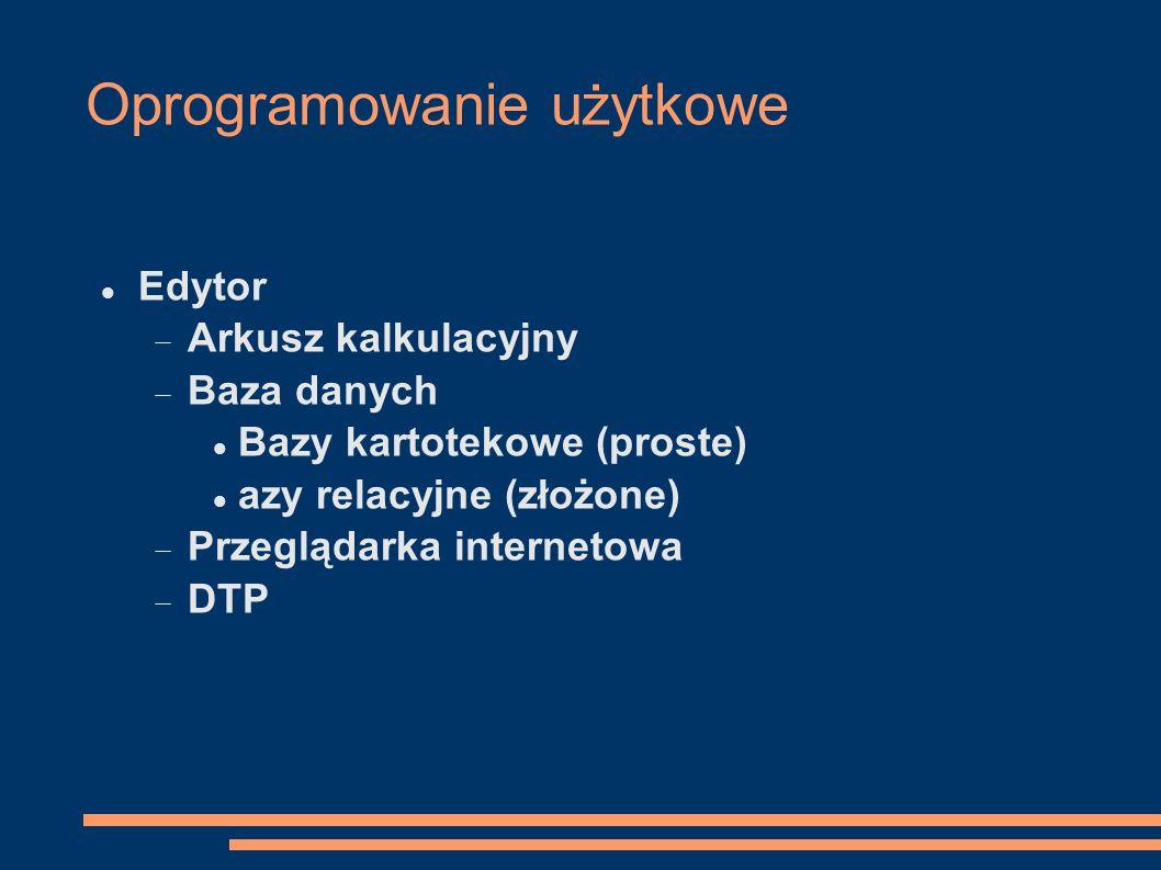 Oprogramowanie użytkowe Edytor Arkusz kalkulacyjny Baza danych Bazy kartotekowe (proste) azy relacyjne (złożone) Przeglądarka internetowa DTP
