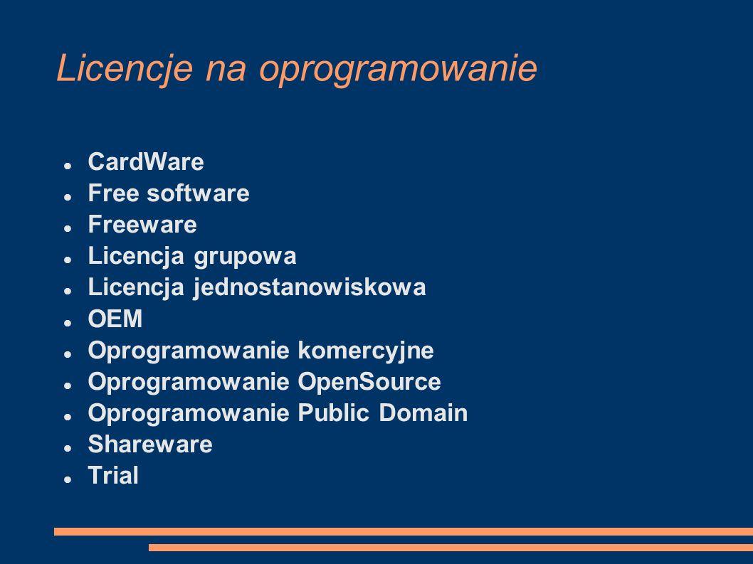 Licencje na oprogramowanie CardWare Free software Freeware Licencja grupowa Licencja jednostanowiskowa OEM Oprogramowanie komercyjne Oprogramowanie Op
