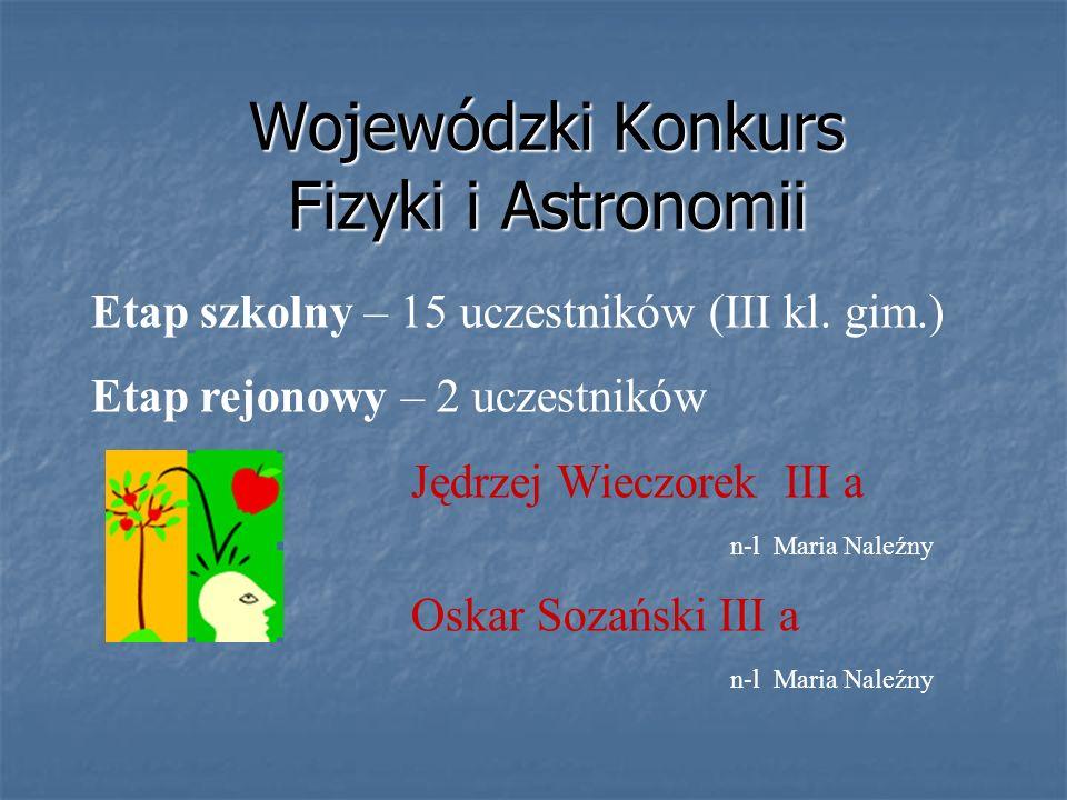 Etap wojewódzki – 2 uczestników laureat Jędrzej Wieczorek III a finalista Oskar Sozański III a