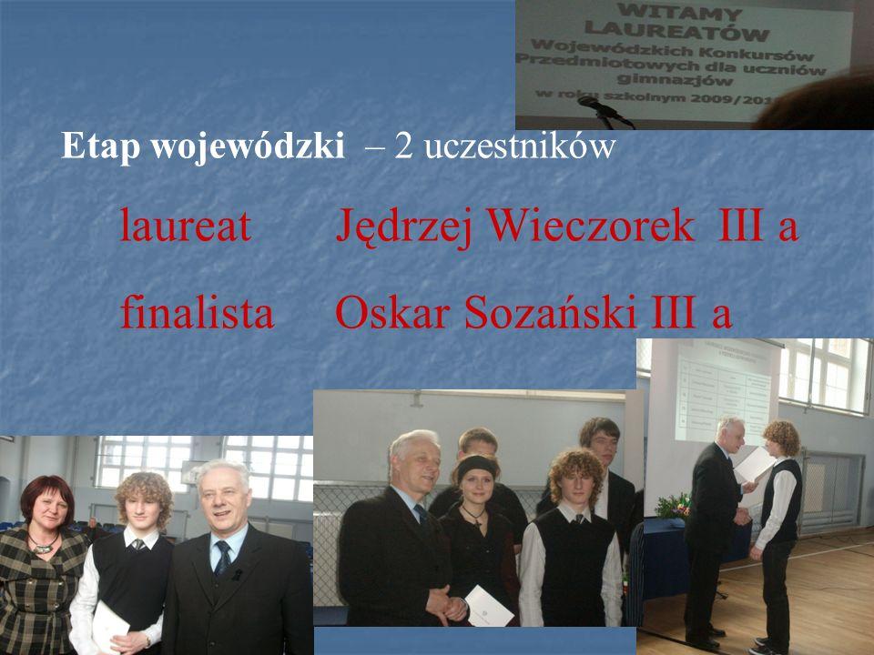 Polsko - Ukraiński Konkurs Fizyczny Lwiątko 2010 W konkursie uczestniczyło 5 uczniów klas II (ogółem 5224) 4 uczniów klas III (ogółem 4565) Najlepszy wynik wśród uczniów klas II uzyskał Sebastian Hennig II a (pozycja 850 ) n-l Maria Naleźny Najlepszy wynik wśród uczniów klas III uzyskał Jędrzej Wieczorek III a (pozycja 766) n-l Maria Naleźny