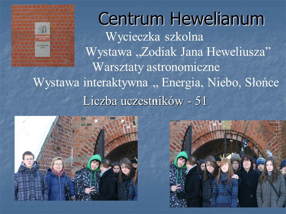 Centrum Hewelianum Centrum Hewelianum Wycieczka szkolna Wystawa Zodiak Jana Heweliusza Warsztaty astronomiczne Wystawa interaktywna Energia, Niebo, Sł