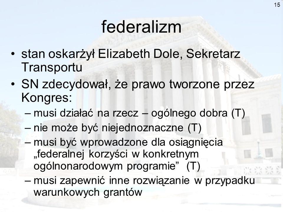 15 federalizm stan oskarżył Elizabeth Dole, Sekretarz Transportu SN zdecydował, że prawo tworzone przez Kongres: –musi działać na rzecz – ogólnego dob