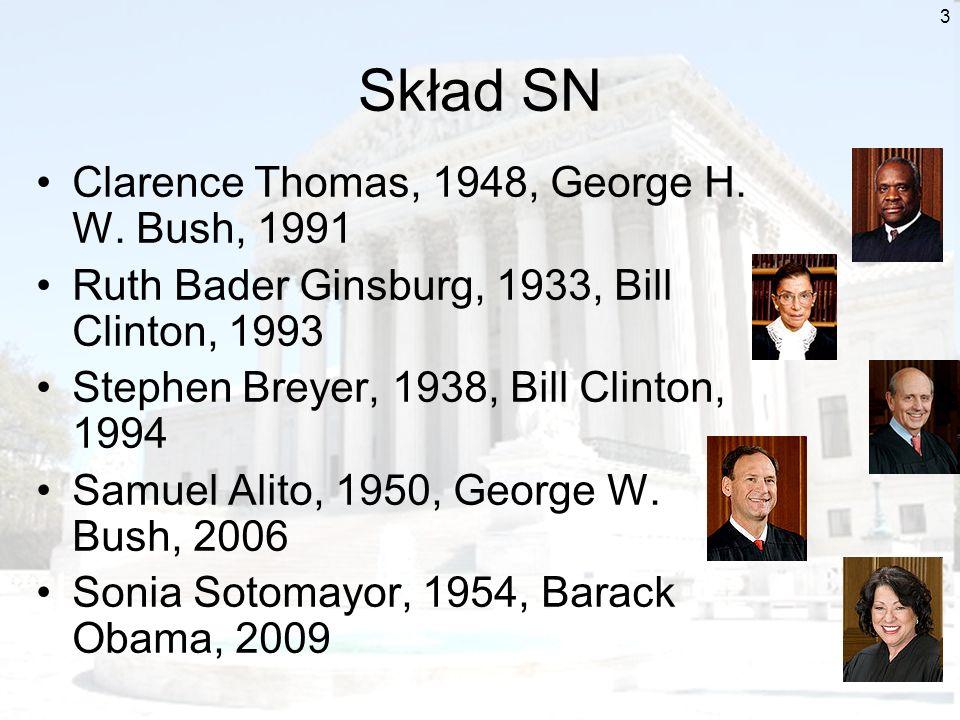 3 Skład SN Clarence Thomas, 1948, George H. W. Bush, 1991 Ruth Bader Ginsburg, 1933, Bill Clinton, 1993 Stephen Breyer, 1938, Bill Clinton, 1994 Samue