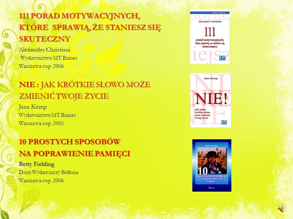 NOWOŚCI : PORADNIKI DOSKONAŁA KONTROLA STRESU Carole Mckenzie Dom Wydawniczy Rebis Poznań 2006 DOSKONAŁE UMIEJĘTNOŚCI INTERPERSONALNE Andrew Floyer Ac