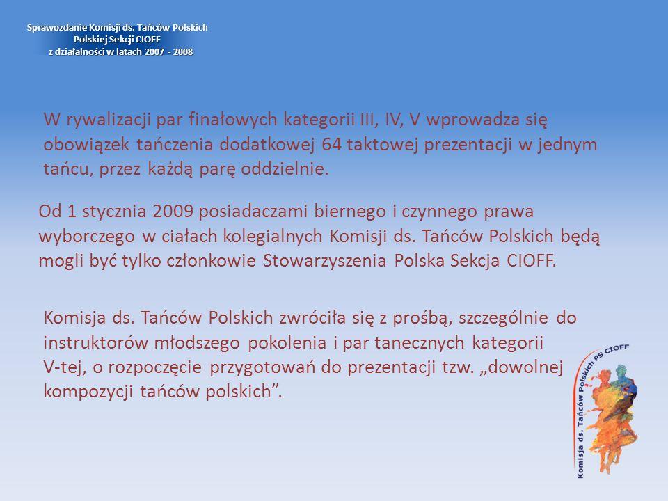 Od 1 stycznia 2009 posiadaczami biernego i czynnego prawa wyborczego w ciałach kolegialnych Komisji ds. Tańców Polskich będą mogli być tylko członkowi