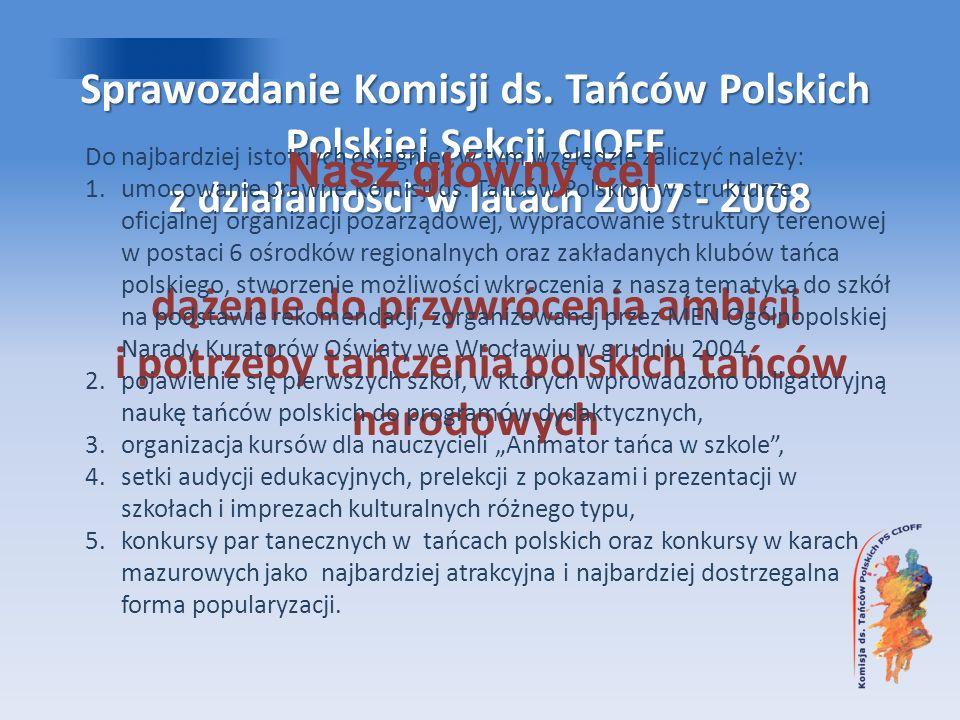 Sprawozdanie Komisji ds. Tańców Polskich Polskiej Sekcji CIOFF z działalności w latach 2007 - 2008 dążenie do przywrócenia ambicji i potrzeby tańczeni
