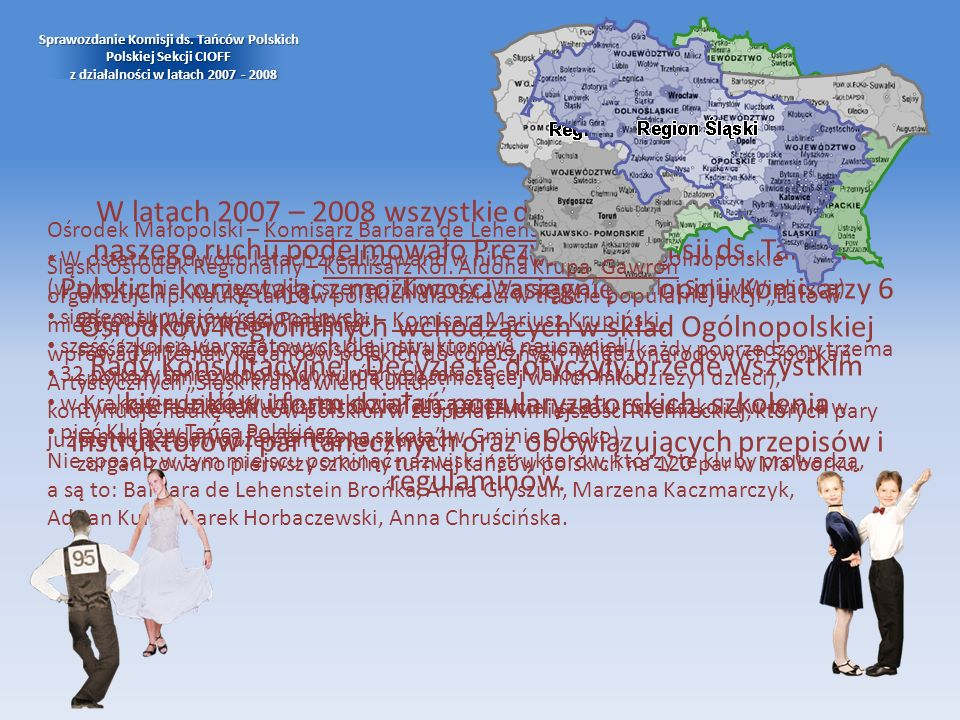 Ośrodek Małopolski – Komisarz Barbara de Lehenstein Brońka. W ostatnich dwóch latach zrealizowano w nim dwa turnieje ogólnopolskie (w tym turniej w ni