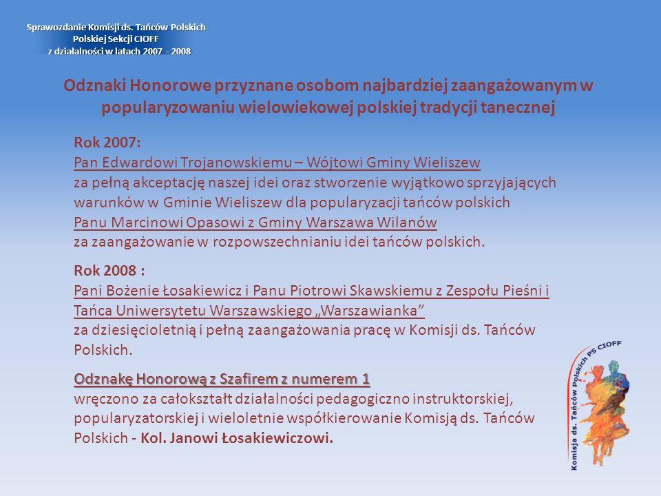 Odznaki Honorowe przyznane osobom najbardziej zaangażowanym w popularyzowaniu wielowiekowej polskiej tradycji tanecznej Rok 2007: Pan Edwardowi Trojan