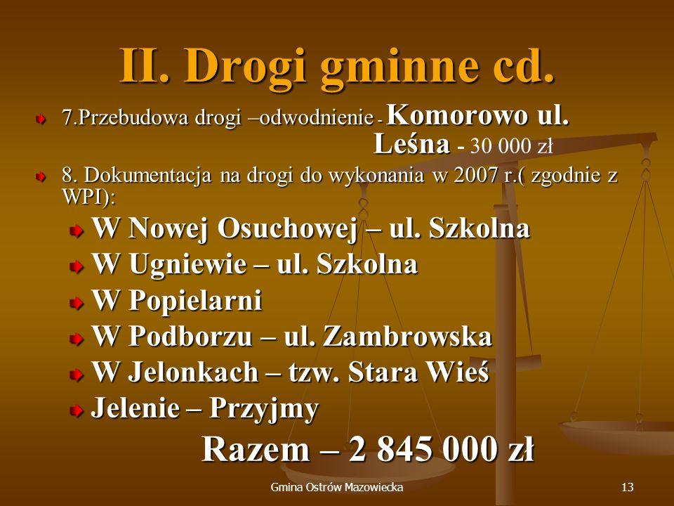 Gmina Ostrów Mazowiecka13 II. Drogi gminne cd. 7.Przebudowa drogi –odwodnienie - Komorowo ul. Leśna 7.Przebudowa drogi –odwodnienie - Komorowo ul. Leś