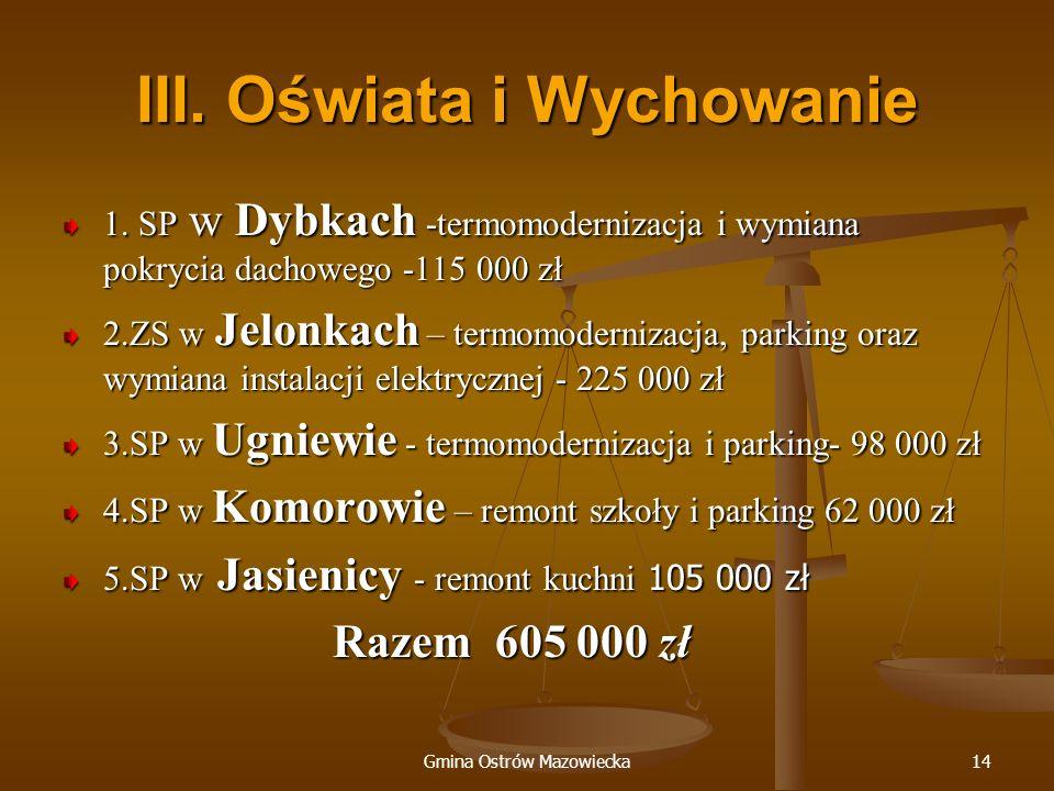 Gmina Ostrów Mazowiecka14 III. Oświata i Wychowanie 1. SP w Dybkach -termomodernizacja i wymiana pokrycia dachowego -115 000 zł 2.ZS w Jelonkach – ter