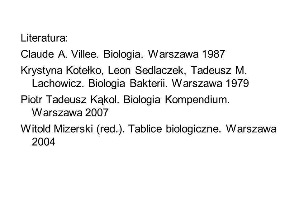 Literatura: Claude A.Villee. Biologia. Warszawa 1987 Krystyna Kotełko, Leon Sedlaczek, Tadeusz M.