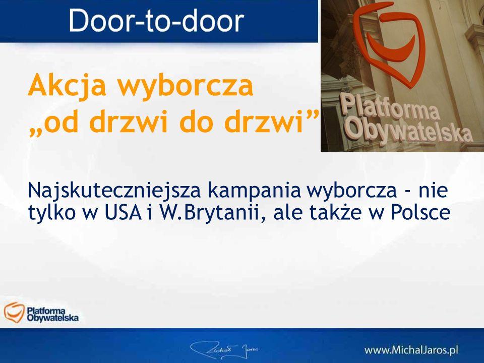 Akcja wyborczaod drzwi do drzwi Najskuteczniejsza kampania wyborcza - nie tylko w USA i W.Brytanii, ale także w Polsce