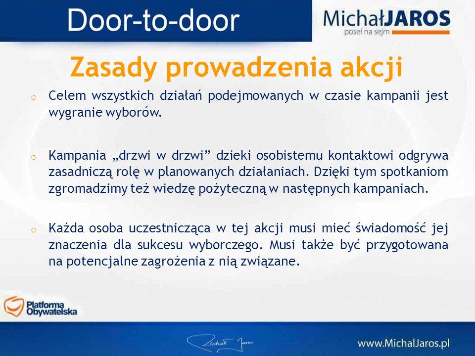 o Celem wszystkich działań podejmowanych w czasie kampanii jest wygranie wyborów. o Kampania drzwi w drzwi dzieki osobistemu kontaktowi odgrywa zasadn
