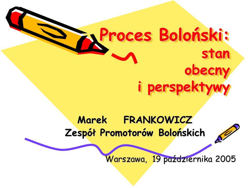 Proces Boloński: stan obecny i perspektywy Marek FRANKOWICZ Zespół Promotorów Bolońskich Warszawa, 19 października 2005