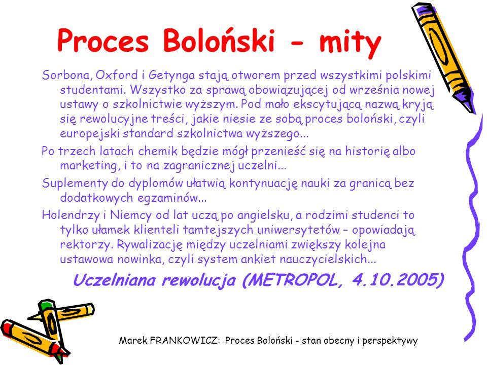 Marek FRANKOWICZ: Proces Boloński - stan obecny i perspektywy Proces Boloński - mity Sorbona, Oxford i Getynga stają otworem przed wszystkimi polskimi