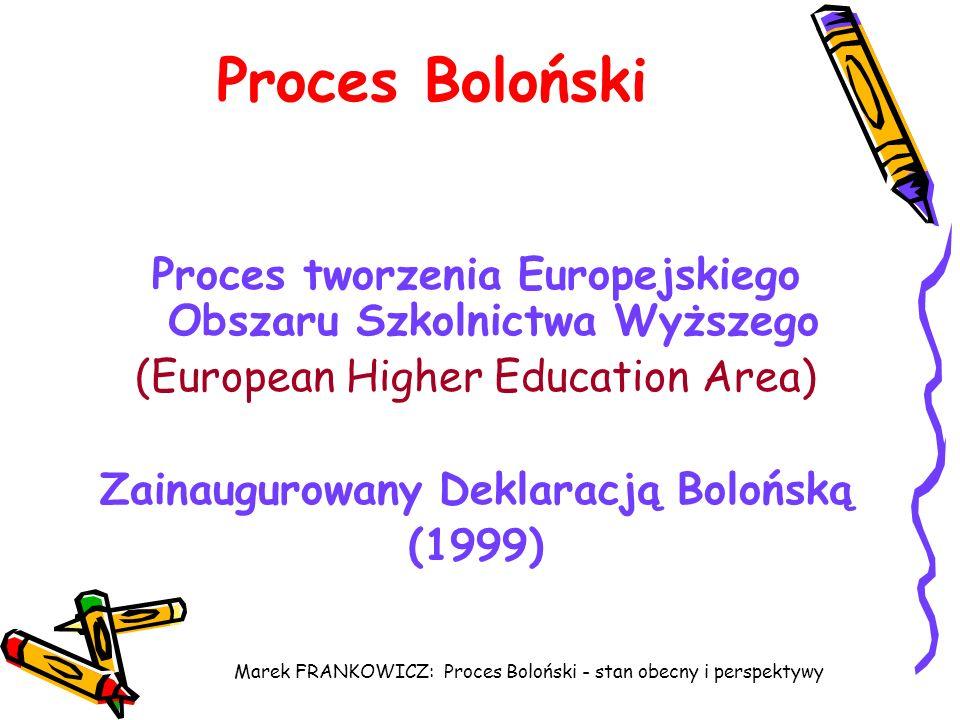 Marek FRANKOWICZ: Proces Boloński - stan obecny i perspektywy Proces Boloński Proces tworzenia Europejskiego Obszaru Szkolnictwa Wyższego (European Hi
