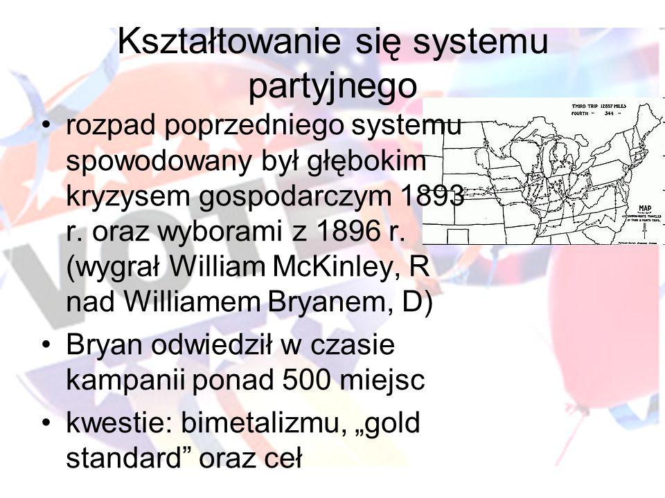 Kształtowanie się systemu partyjnego rozpad poprzedniego systemu spowodowany był głębokim kryzysem gospodarczym 1893 r. oraz wyborami z 1896 r. (wygra