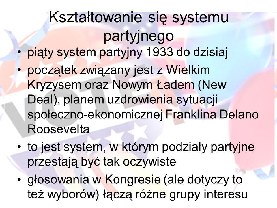 Kształtowanie się systemu partyjnego piąty system partyjny 1933 do dzisiaj początek związany jest z Wielkim Kryzysem oraz Nowym Ładem (New Deal), plan