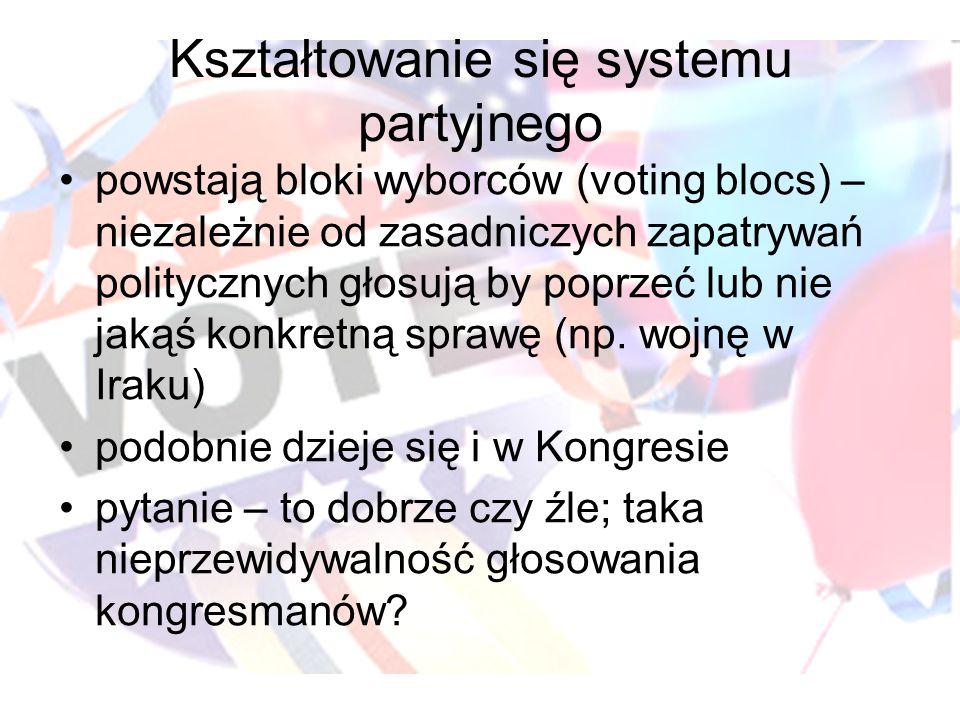 Kształtowanie się systemu partyjnego powstają bloki wyborców (voting blocs) – niezależnie od zasadniczych zapatrywań politycznych głosują by poprzeć lub nie jakąś konkretną sprawę (np.