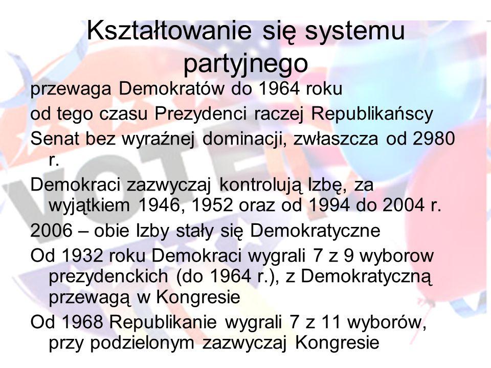 Kształtowanie się systemu partyjnego przewaga Demokratów do 1964 roku od tego czasu Prezydenci raczej Republikańscy Senat bez wyraźnej dominacji, zwła