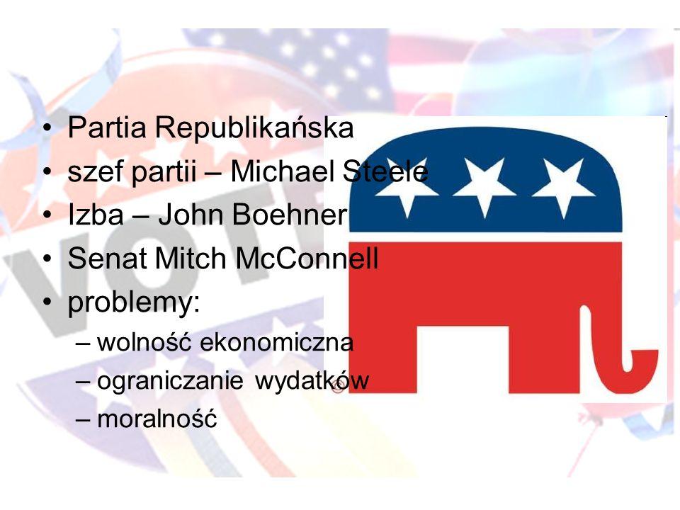 Partia Republikańska szef partii – Michael Steele Izba – John Boehner Senat Mitch McConnell problemy: –wolność ekonomiczna –ograniczanie wydatków –moralność