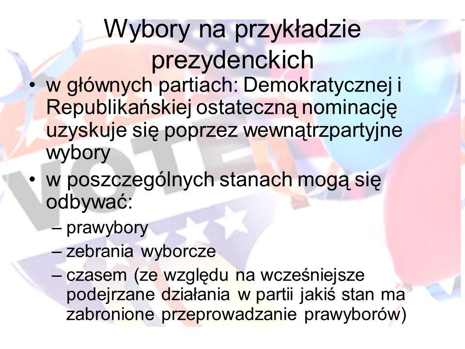Wybory na przykładzie prezydenckich w głównych partiach: Demokratycznej i Republikańskiej ostateczną nominację uzyskuje się poprzez wewnątrzpartyjne w