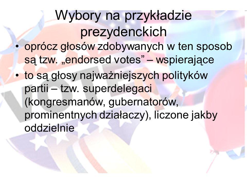 Wybory na przykładzie prezydenckich oprócz głosów zdobywanych w ten sposob są tzw. endorsed votes – wspierające to są głosy najważniejszych polityków