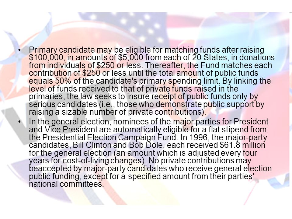 Primary candidate may be eligible for matching funds after raising $100,000, in amounts of $5,000 from each of 20 States, in donations from individual