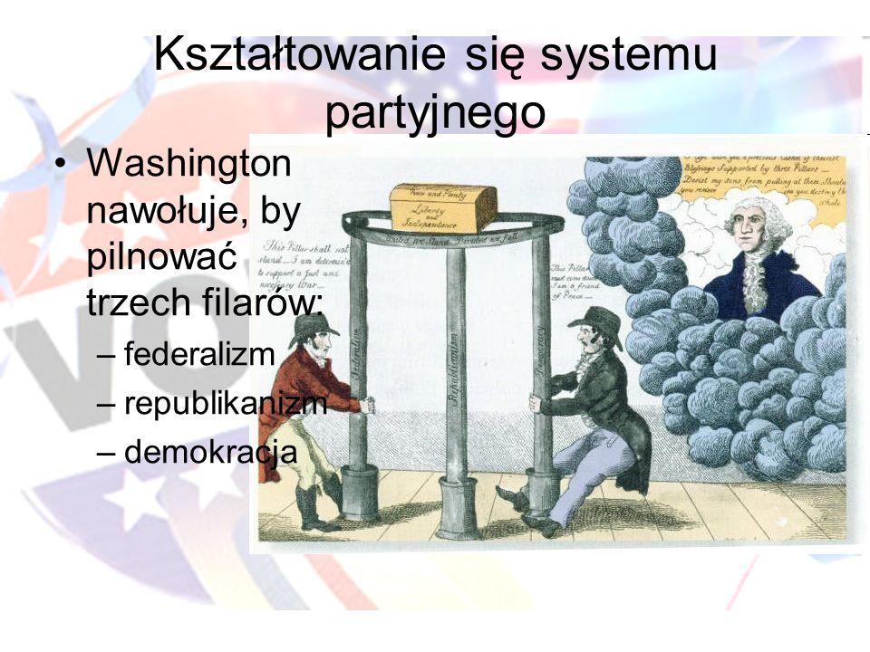 Kształtowanie się systemu partyjnego Washington nawołuje, by pilnować trzech filarów: –federalizm –republikanizm –demokracja