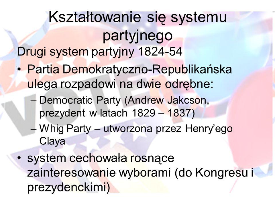 Kształtowanie się systemu partyjnego Drugi system partyjny 1824-54 Partia Demokratyczno-Republikańska ulega rozpadowi na dwie odrębne: –Democratic Party (Andrew Jakcson, prezydent w latach 1829 – 1837) –Whig Party – utworzona przez Henryego Claya system cechowała rosnące zainteresowanie wyborami (do Kongresu i prezydenckimi)