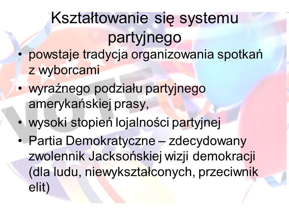 Kształtowanie się systemu partyjnego powstaje tradycja organizowania spotkań z wyborcami wyraźnego podziału partyjnego amerykańskiej prasy, wysoki sto