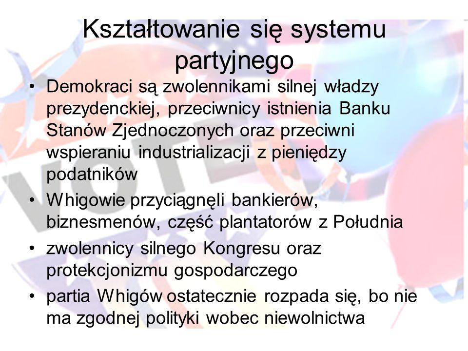 Kształtowanie się systemu partyjnego Demokraci są zwolennikami silnej władzy prezydenckiej, przeciwnicy istnienia Banku Stanów Zjednoczonych oraz prze