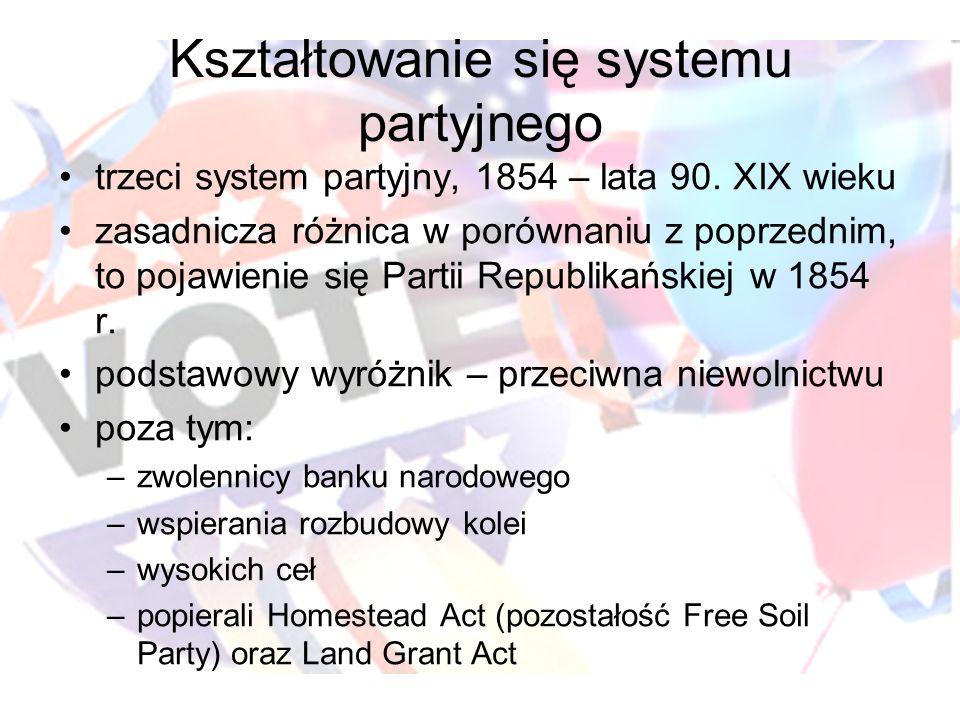 Kształtowanie się systemu partyjnego trzeci system partyjny, 1854 – lata 90. XIX wieku zasadnicza różnica w porównaniu z poprzednim, to pojawienie się