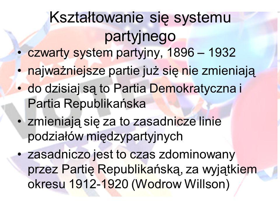 Kształtowanie się systemu partyjnego czwarty system partyjny, 1896 – 1932 najważniejsze partie już się nie zmieniają do dzisiaj są to Partia Demokratyczna i Partia Republikańska zmieniają się za to zasadnicze linie podziałów międzypartyjnych zasadniczo jest to czas zdominowany przez Partię Republikańską, za wyjątkiem okresu 1912-1920 (Wodrow Willson)