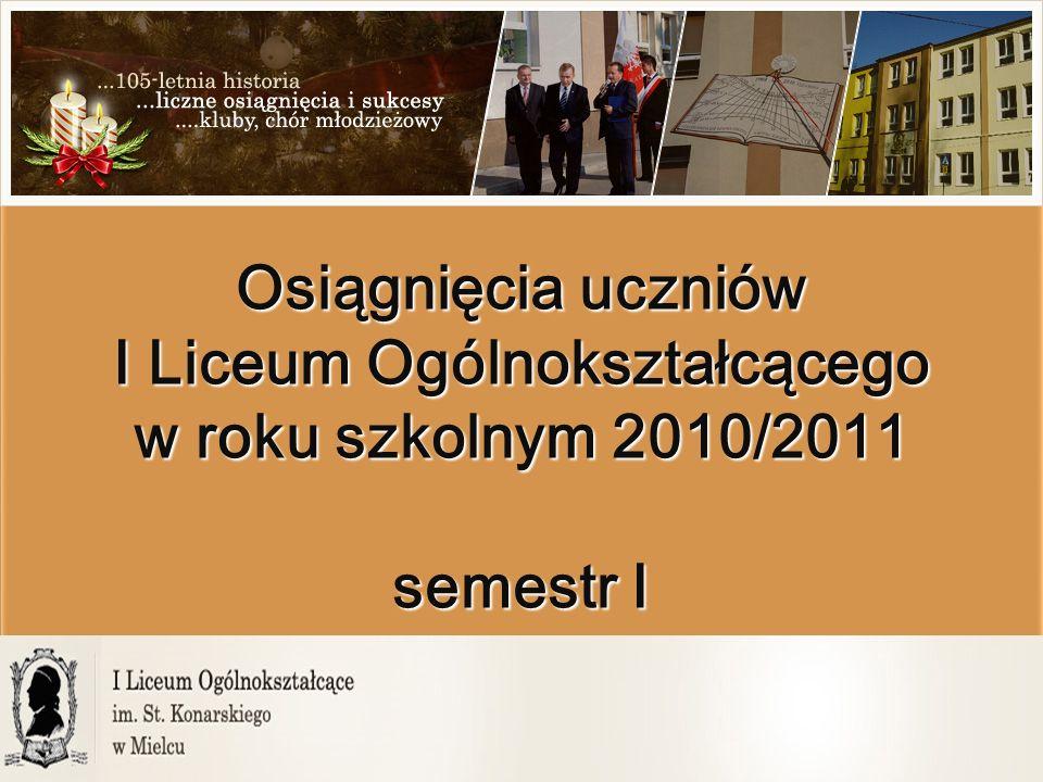 Osiągnięcia uczniów I Liceum Ogólnokształcącego w roku szkolnym 2010/2011 semestr I