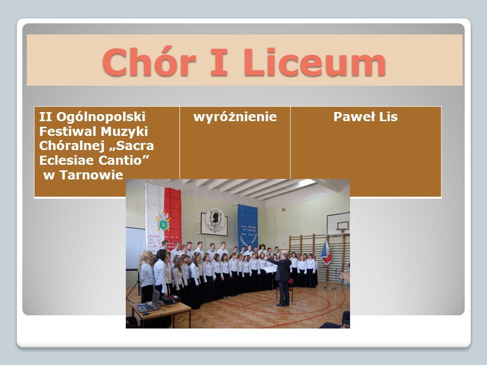 Chór I Liceum II Ogólnopolski Festiwal Muzyki Chóralnej Sacra Eclesiae Cantio w Tarnowie wyróżnieniePaweł Lis