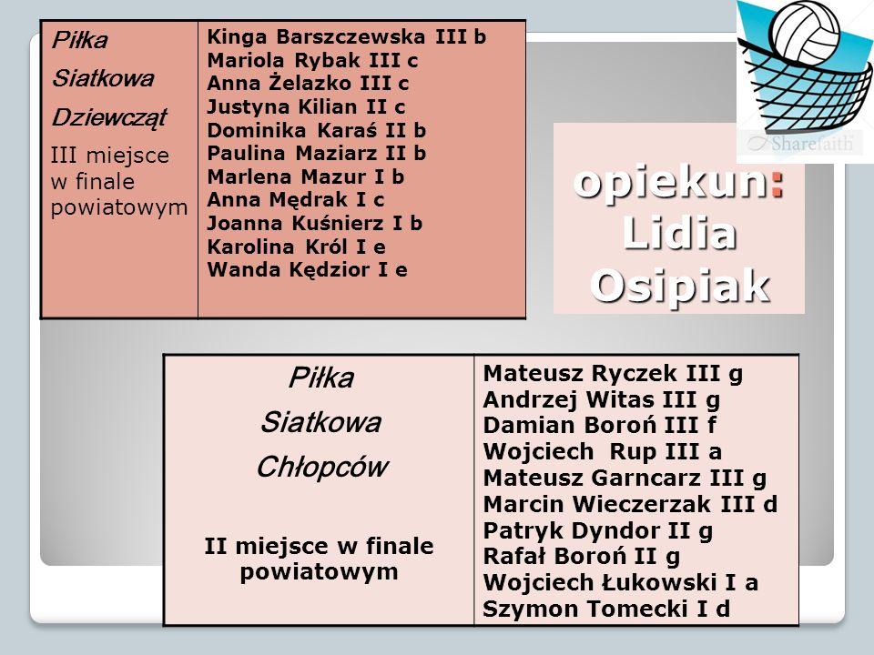 opiekun: Lidia Osipiak Piłka Siatkowa Dziewcząt III miejsce w finale powiatowym Kinga Barszczewska III b Mariola Rybak III c Anna Żelazko III c Justyn