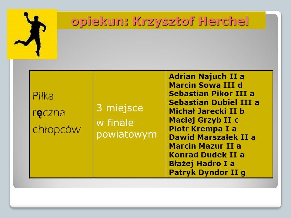 opiekun: Krzysztof Herchel opiekun: Krzysztof Herchel Piłka r ę czna chłopców 3 miejsce w finale powiatowym Adrian Najuch II a Marcin Sowa III d Sebas