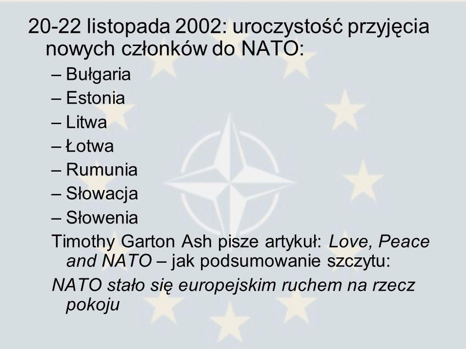 20-22 listopada 2002: uroczystość przyjęcia nowych członków do NATO: –Bułgaria –Estonia –Litwa –Łotwa –Rumunia –Słowacja –Słowenia Timothy Garton Ash