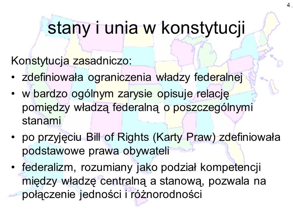 4 stany i unia w konstytucji Konstytucja zasadniczo: zdefiniowała ograniczenia władzy federalnej w bardzo ogólnym zarysie opisuje relację pomiędzy wła