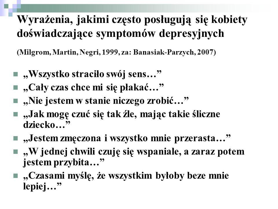 Wyrażenia, jakimi często posługują się kobiety doświadczające symptomów depresyjnych (Milgrom, Martin, Negri, 1999, za: Banasiak-Parzych, 2007) Wszyst