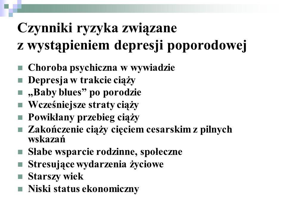 Metody diagnozowania Skala Depresji Becka Edynburska Skala do Oceny Depresji Poporodowej Rozmowa i obserwacja