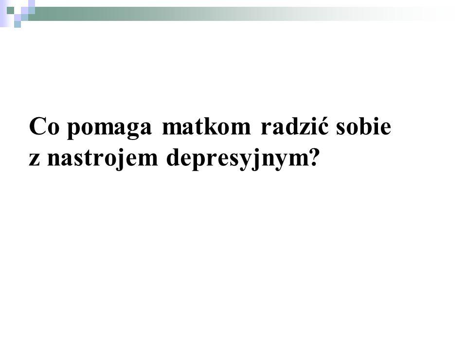 Badania Gilley, 1993 (za: Milgrom, Martin, Negri, 1999, Banasiak- Parzych, 2007) Rozmowa z kimś Wyjście z domu (z dzieckiem) Zmiana nastawienia Ćwiczenia, odpoczynek Wyrażenie emocji Wyjście z domu (bez dziecka) Odsypianie Świadomość, że to minie Zaprzestanie karmienia piersią Stosowanie środków przeciwbólowych Czytanie książek o depresji Nawiązanie interakcji z dzieckiem Pozostałe 76% 15% 14% 8% 7% 5% 3% 7%