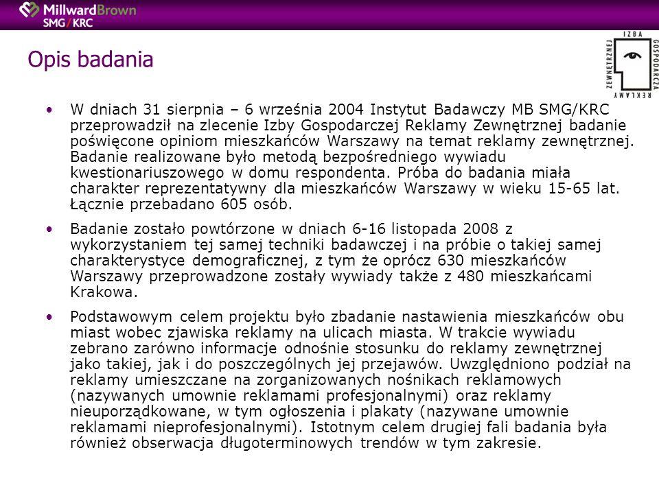 Opis badania W dniach 31 sierpnia – 6 września 2004 Instytut Badawczy MB SMG/KRC przeprowadził na zlecenie Izby Gospodarczej Reklamy Zewnętrznej badanie poświęcone opiniom mieszkańców Warszawy na temat reklamy zewnętrznej.